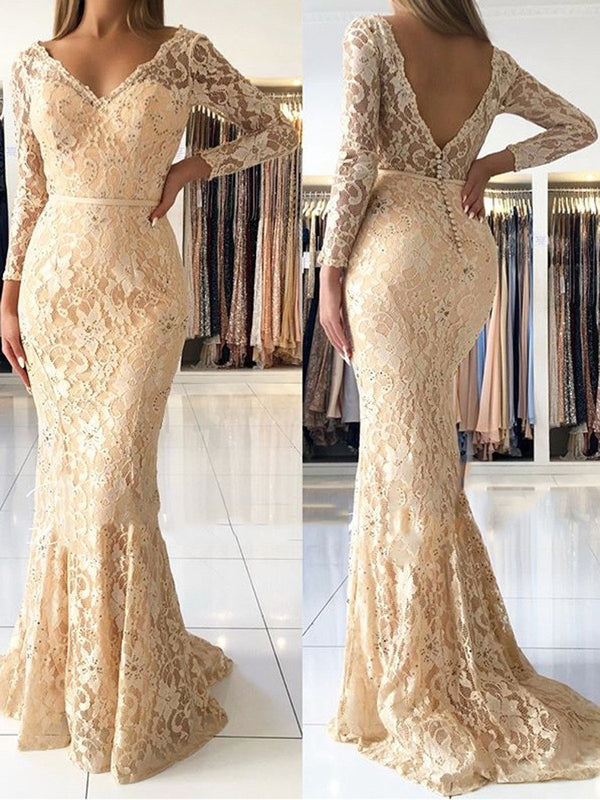 Trumpet/Mermaid Floor-Length Long Sleeves V-Neck Evening Dress