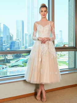 Lace Long Sleeves Tea-Length Bateau Garden/Outdoor Wedding Dress