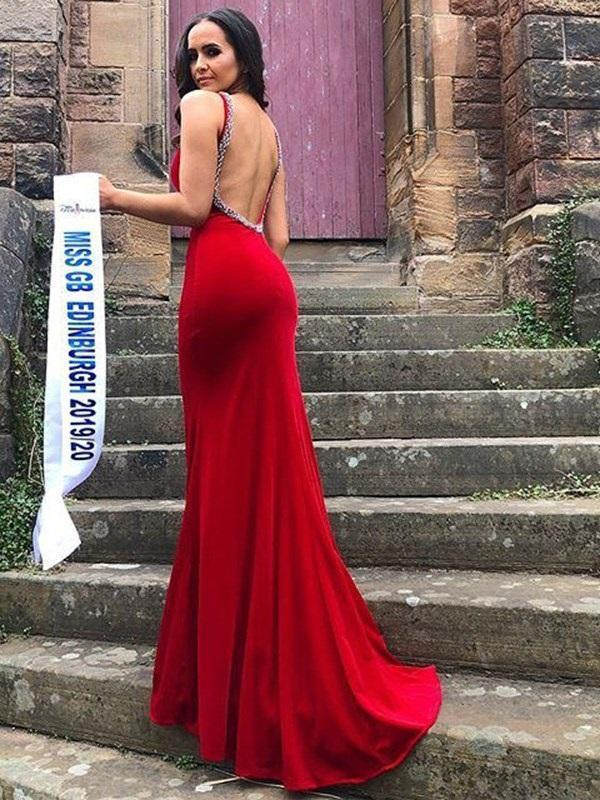Straps Beading Trumpet/Mermaid Floor-Length Prom Dress