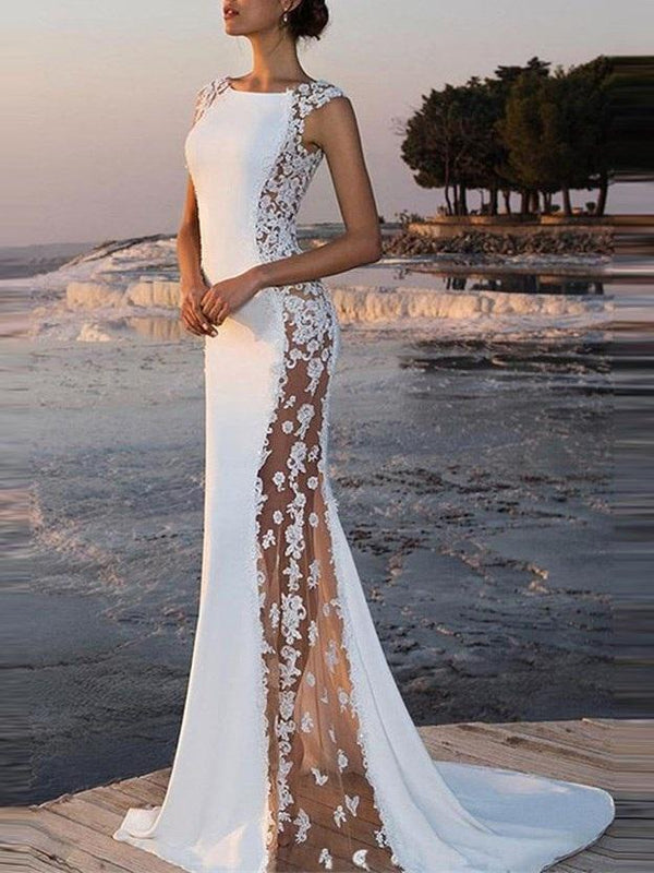 Cap Sleeves Sweep/Brush Floor-Length Trumpet/Mermaid Evening Dress