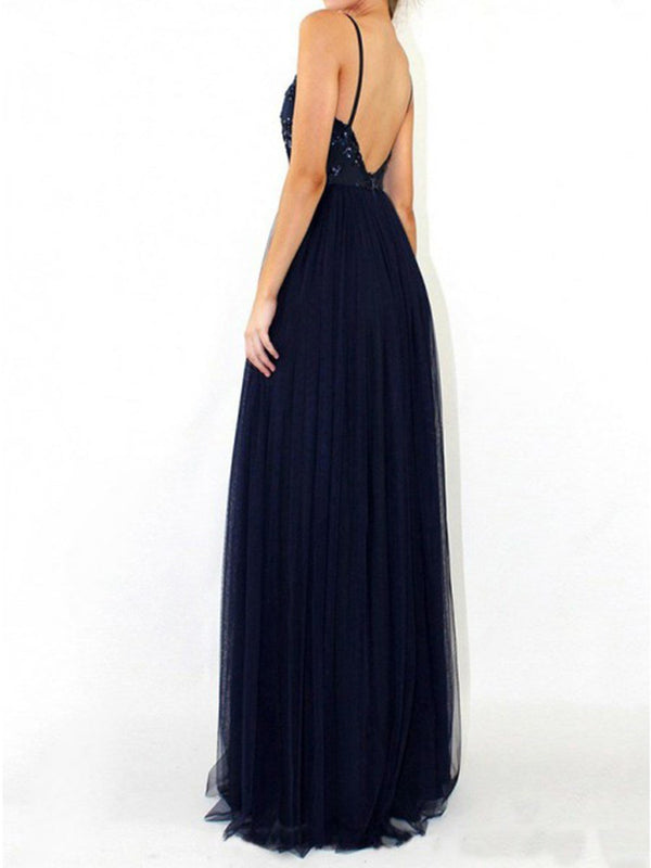 Sleeveless Spaghetti Straps Floor-Length A-Line Prom Dress