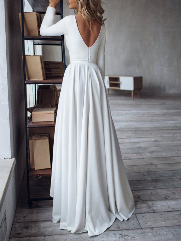 Bateau Button Asymmetry A-Line Beach Wedding Dress