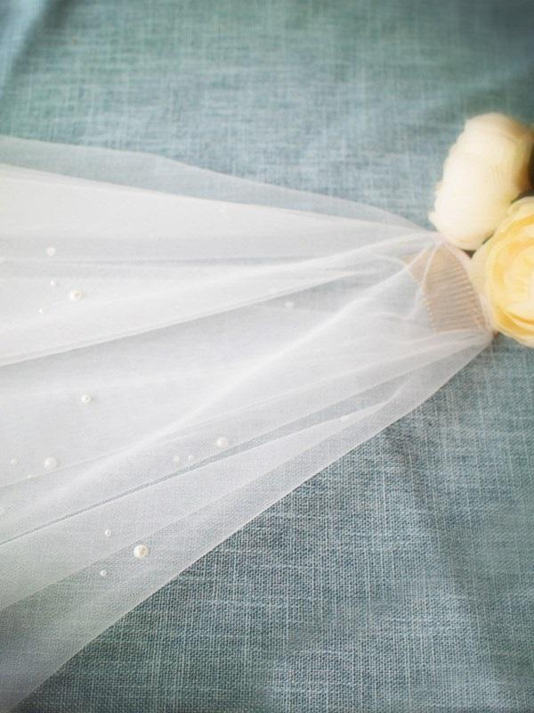 "Cut Edge Wave Cut Two-Layer Waltz(54""-60"") Wedding Veil"