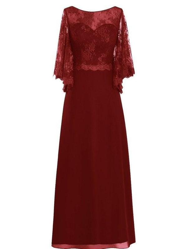 A-Line Bateau Half Sleeves Floor-Length Evening Dress