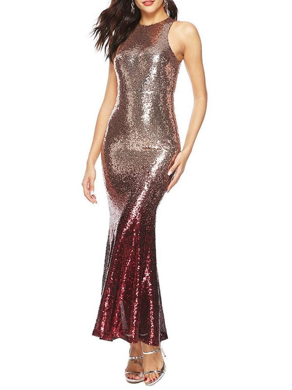 Sleeveless Scoop Ankle-Length Sequins Cocktail Dress