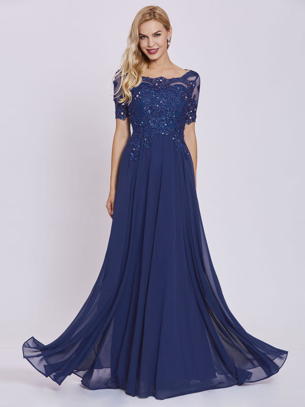 Floor-Length A-Line Appliques Blue Military Ball Party Dress