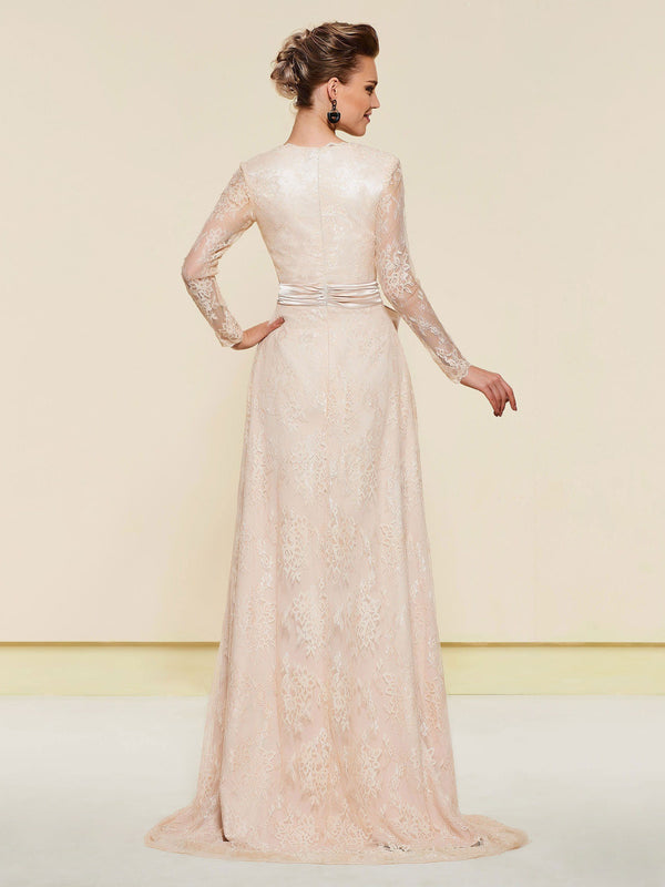 Long Sleeves Floor-Length A-Line V-Neck Wedding Party Dress