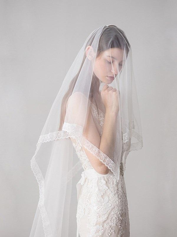"Lace Edge Lace One-Layer Chapel(60""-90"") Wedding Veil"