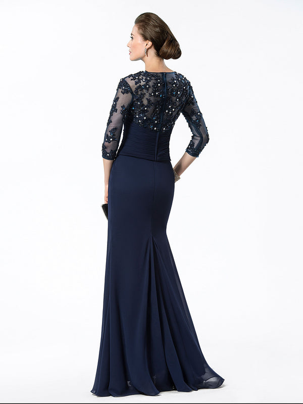 Floor-Length Bateau Beading Sheath/Column Evening Dress