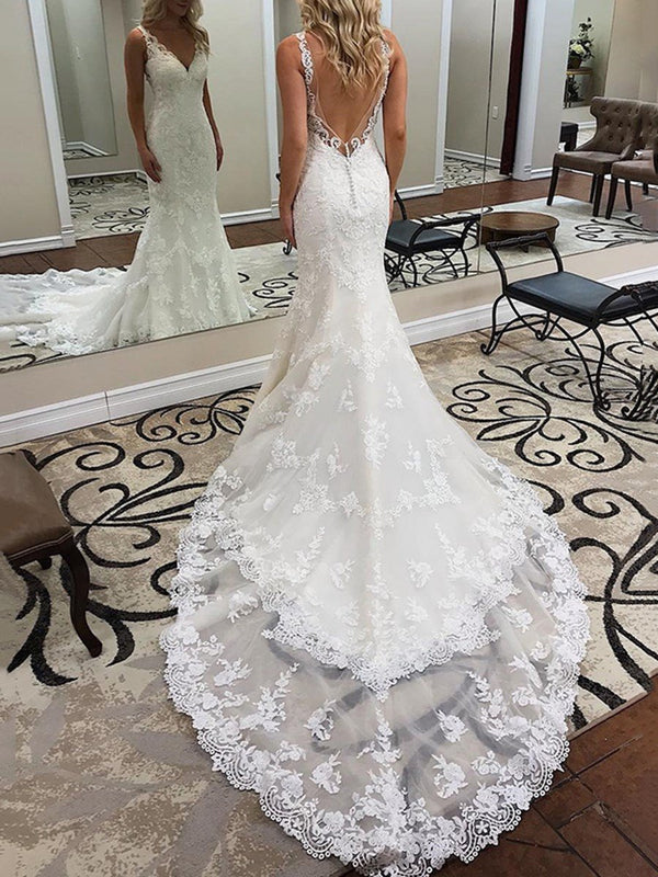 Trumpet/Mermaid Appliques Floor-Length V-Neck Hall Wedding Dress