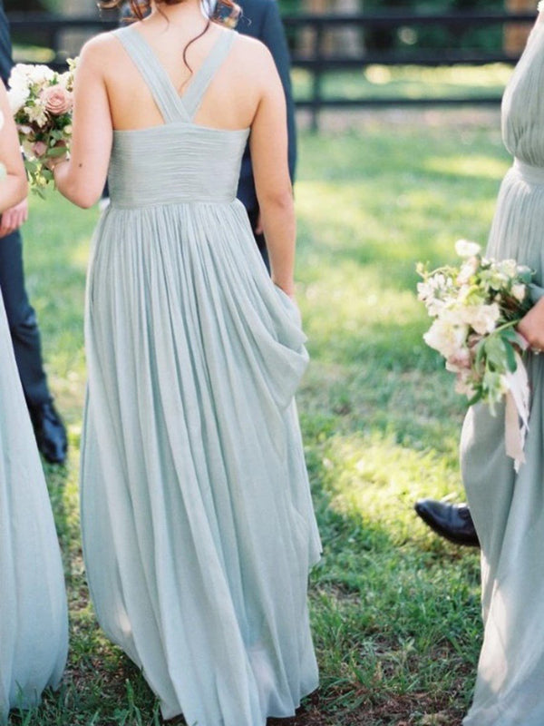 Pleats Sleeveless V-Neck Floor-Length Wedding Party Dress
