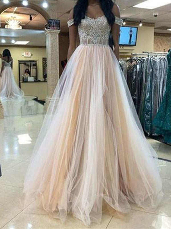 Off-The-Shoulder Floor-Length Sleeveless A-Line Evening Dress