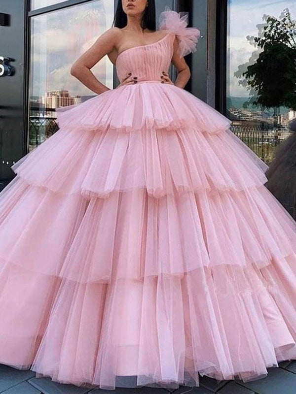 Hollow One Shoulder Ball Gown Sleeveless Quinceanera Dress