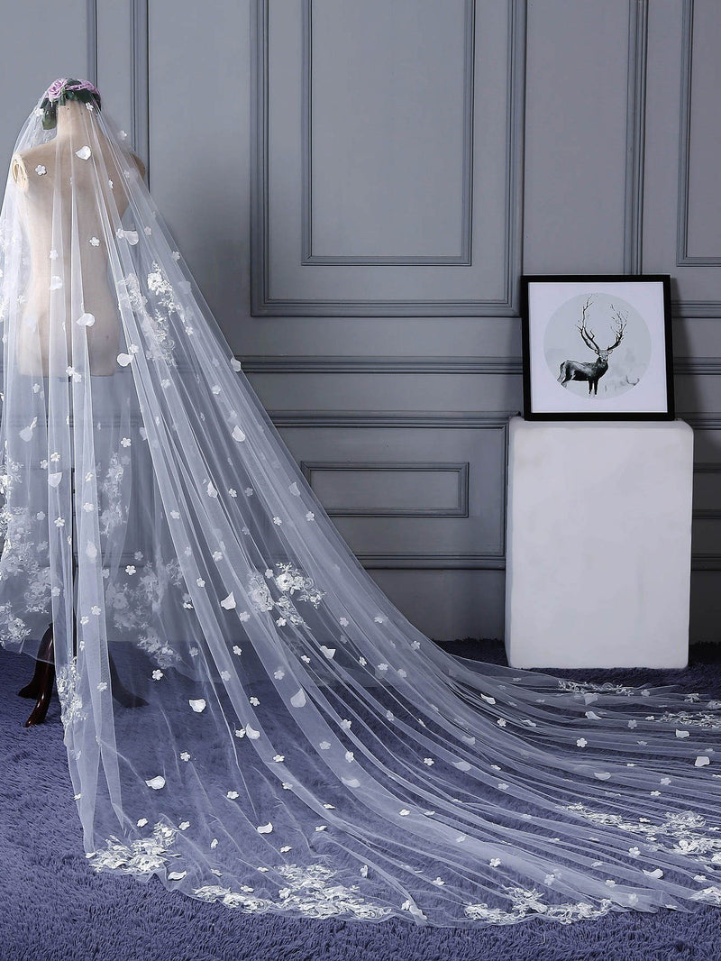"Appliques Applique Edge Cathedral(100""-120"") One-Layer Wedding Veil"