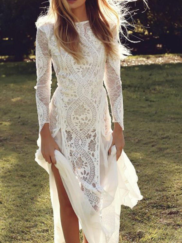 Bateau Floor-Length Long Sleeves Court Church Wedding Dress