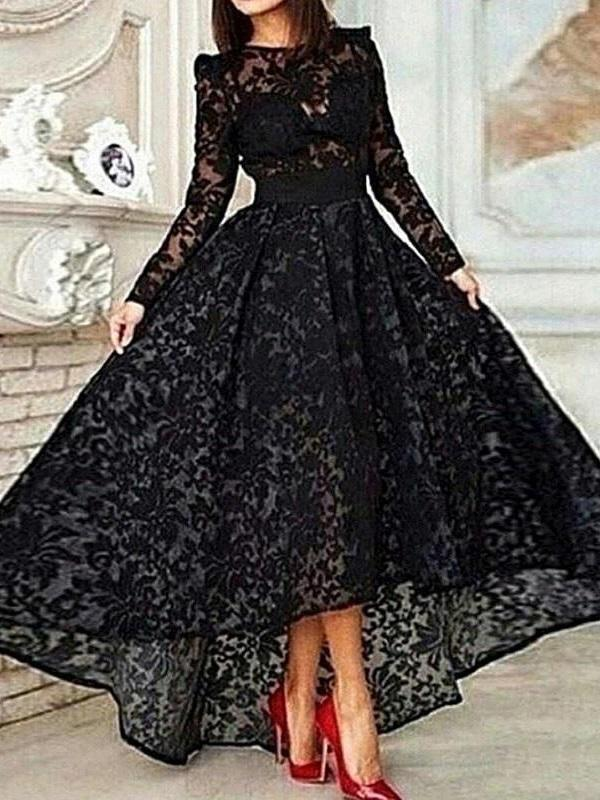 A-Line Long Sleeves Asymmetry Lace Prom Dress