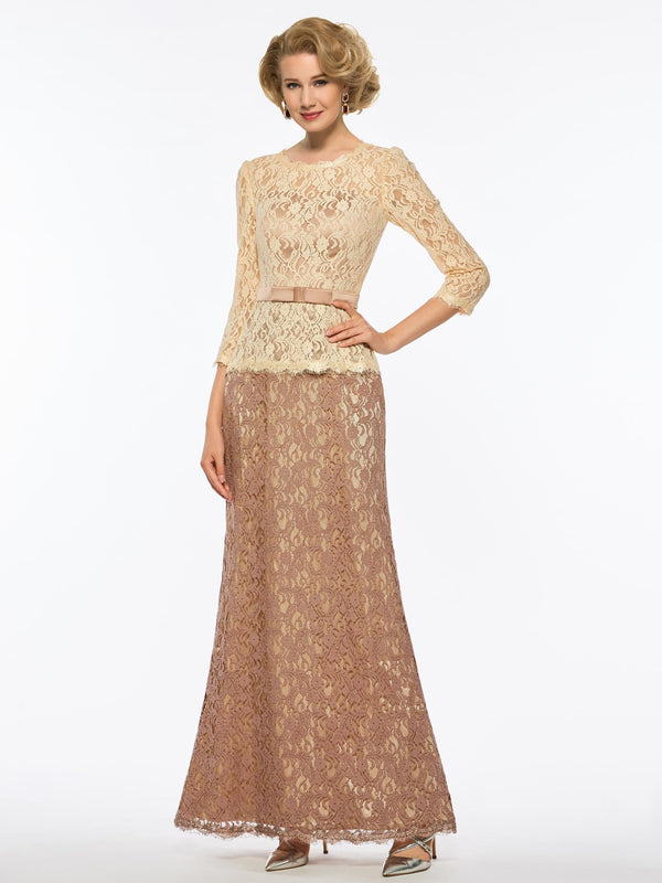 Sheath/Column Floor-Length 3/4 Length Sleeves Lace Cocktail Dress