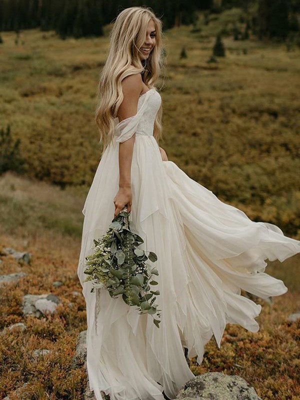 Off-The-Shoulder A-Line Floor-Length Sleeveless Garden/Outdoor Wedding Dress