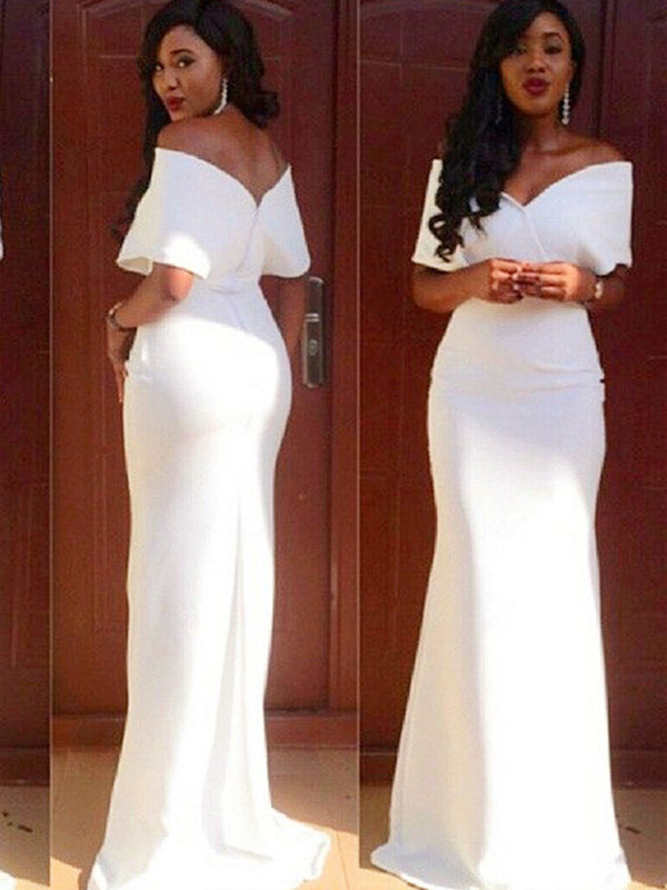 Short Sleeves Off-The-Shoulder Sheath/Column Floor-Length Formal Dress