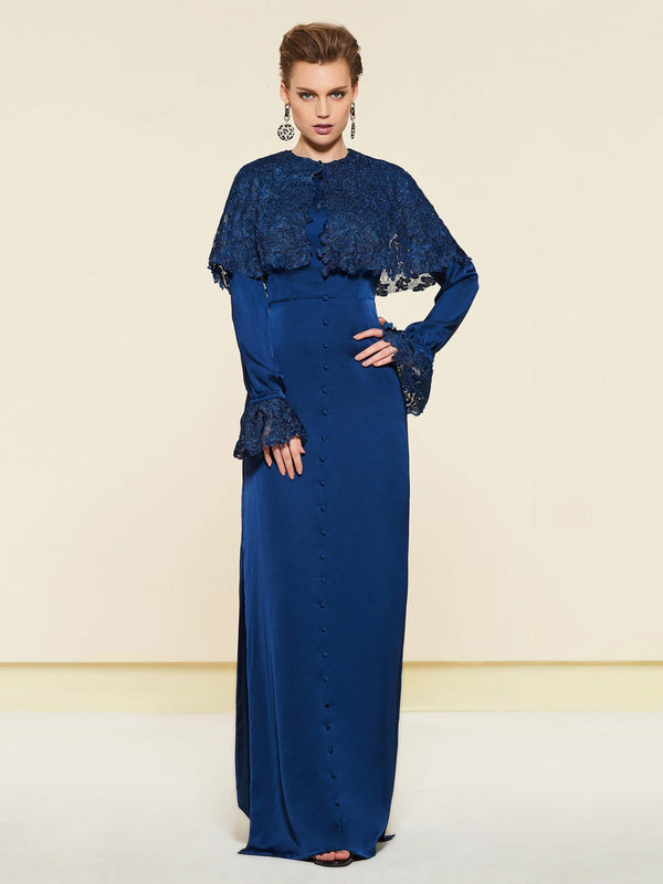 Long Sleeves Lace Sheath/Column Floor-Length Wedding Party Dress