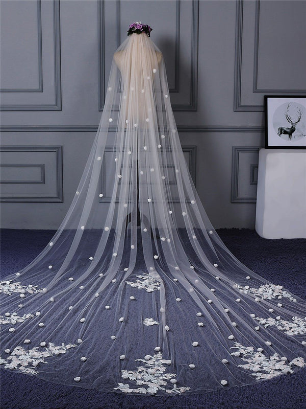 "Applique Edge Appliques One-Layer Cathedral(100""-120"") Wedding Veil"