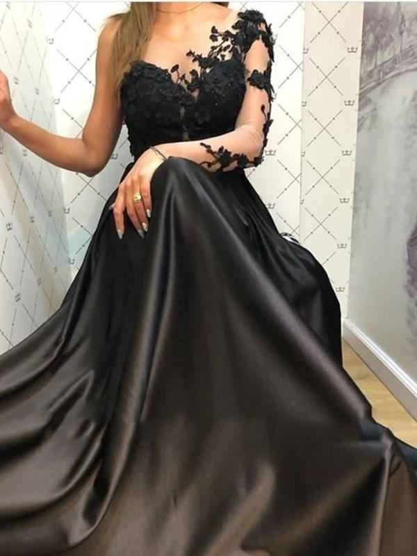 Floor-Length A-Line Scoop Long Sleeves Evening Dress