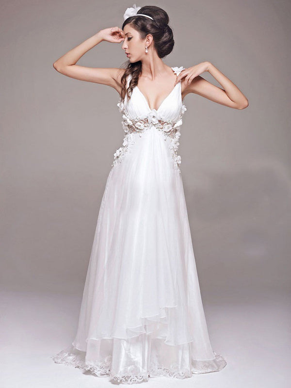A-Line V-Neck Lace Sleeveless Garden/Outdoor Wedding Dress