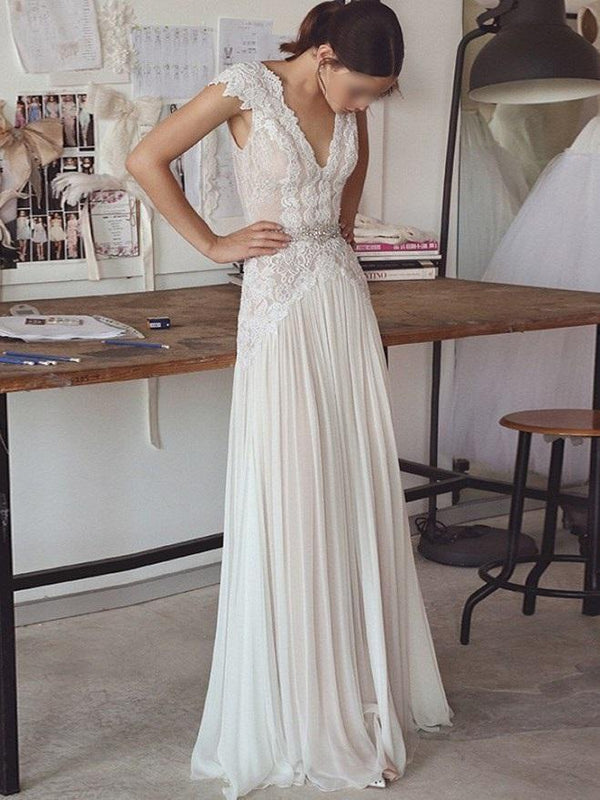 Cap Sleeves Floor-Length Sheath/Column Beading Beach Wedding Dress