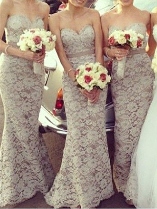 Trumpet/Mermaid Sweep/Brush Floor-Length Sleeveless Wedding Party Dress