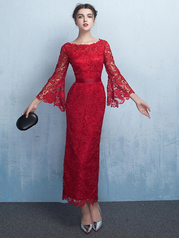 Lace Sheath/Column Bateau Long Sleeves Evening Dress