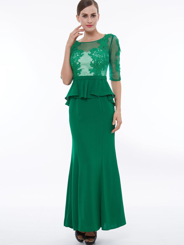 Appliques Ankle-Length Scoop Green Celebrity Party Dress