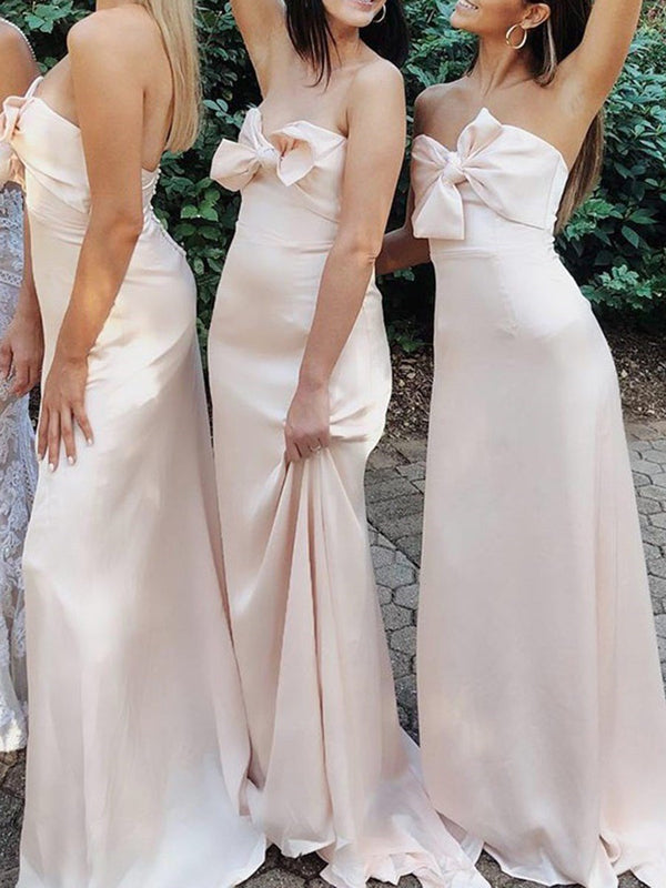 Sleeveless Sweetheart Bowknot Floor-Length Wedding Party Dress