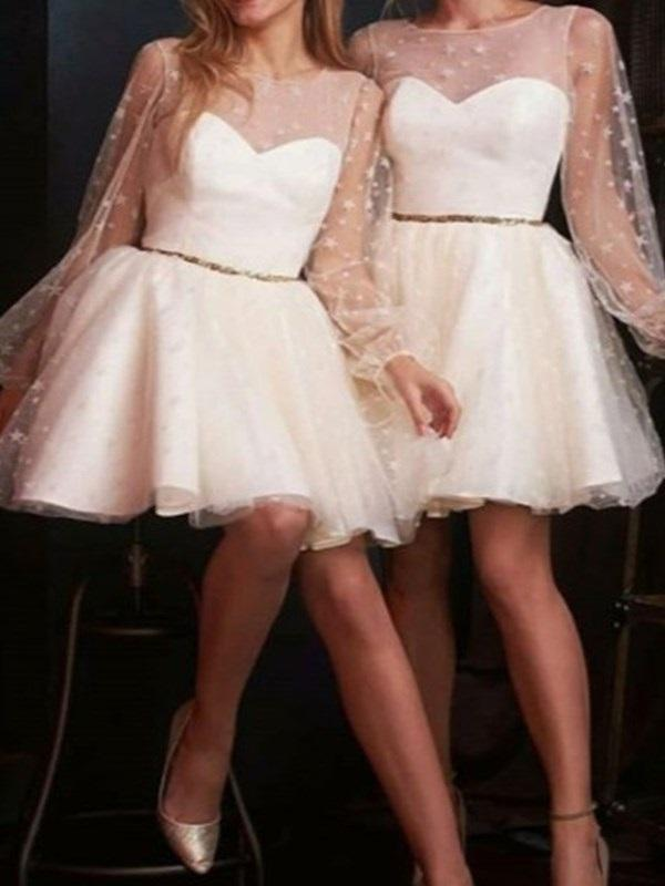 Beading Knee-Length Scoop A-Line Wedding Party Dress