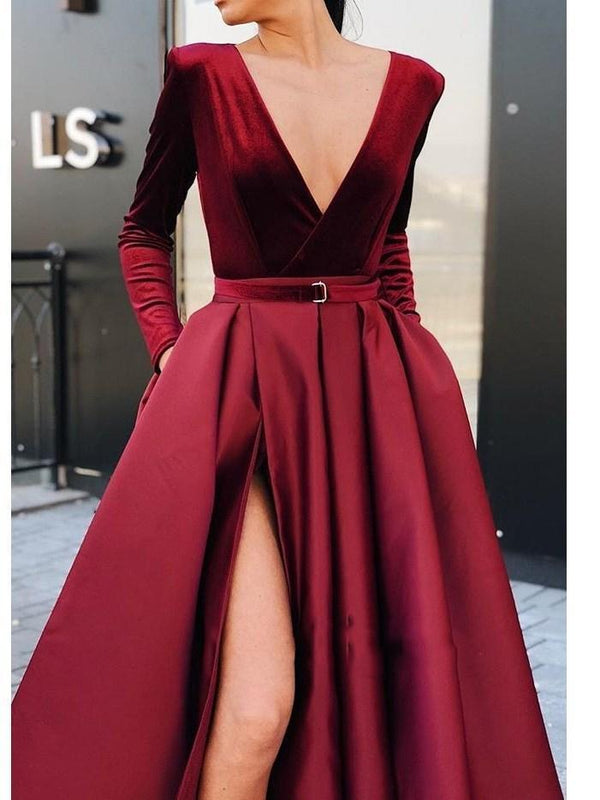 V-Neck Split-Front Floor-Length A-Line Evening Dress