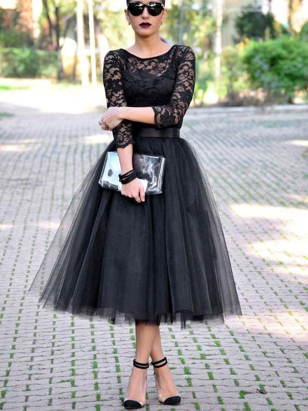 Lace 3/4 Length Sleeves Scoop Tea-Length Homecoming Dress