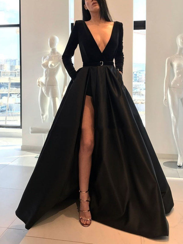 Long Sleeves V-Neck Sweep/Brush Sashes/Ribbons Evening Dress