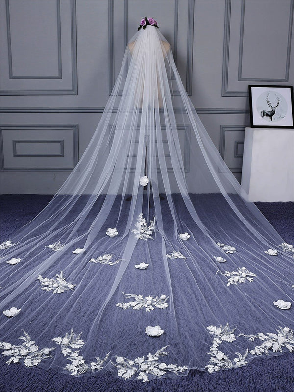 "Applique Edge One-Layer Cathedral(100""-120"") Appliques Wedding Veil"