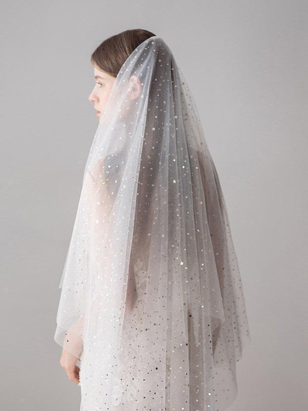 "Fingertip(36""-50"") Two-Layer Cut Edge Wedding Veil"
