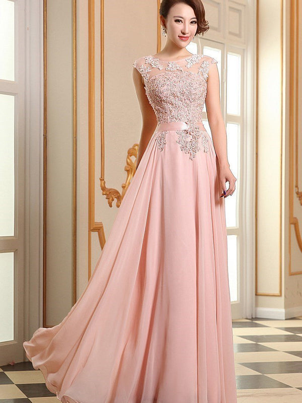 A-Line Cap Sleeves Floor-Length Scoop Celebrity Dress