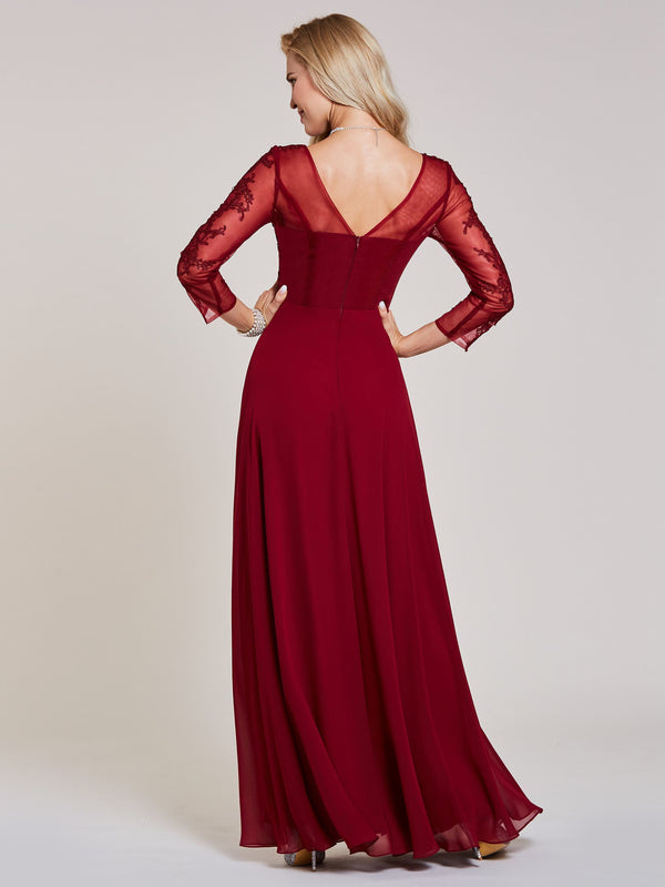 A-Line Appliques Long Sleeves Floor-Length Evening Party Dress