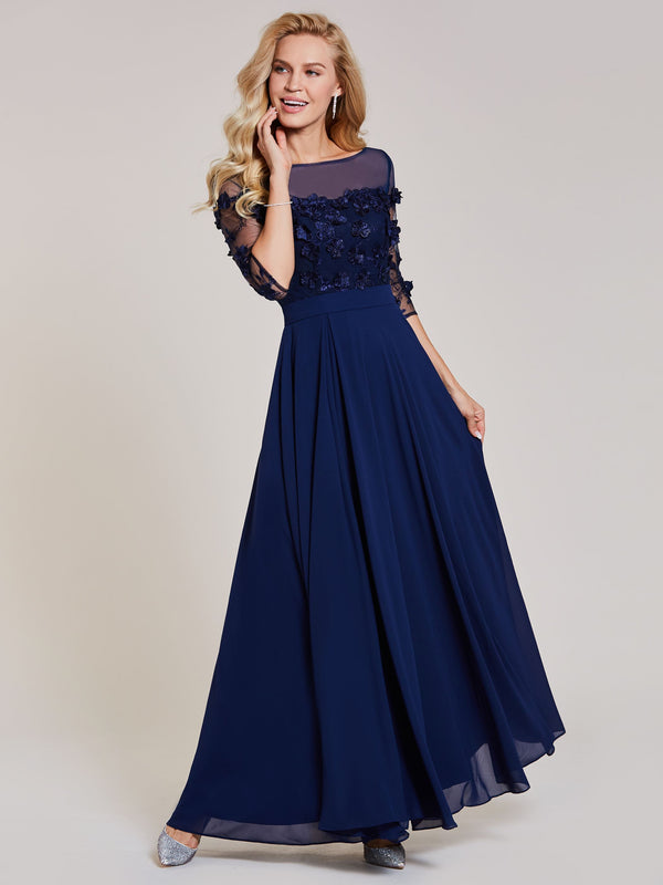 3/4 Length Sleeves Blue A-Line Appliques Formal Party Dress