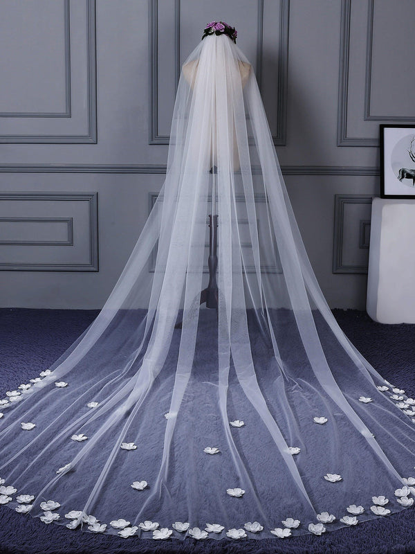 "3D One-Layer Cathedral(100""-120"") Applique Edge Wedding Veil"