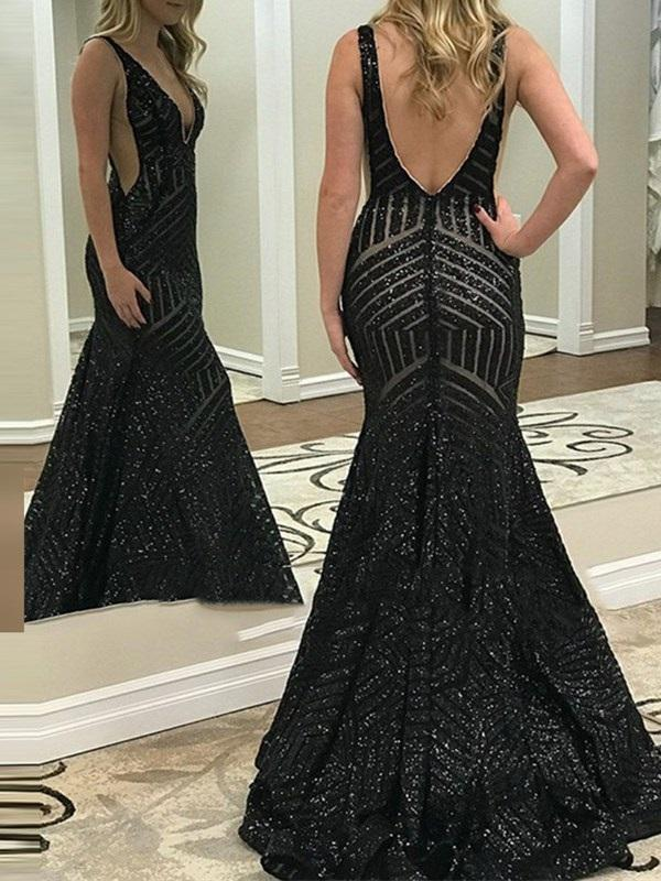 Floor-Length V-Neck Sequins Trumpet/Mermaid Evening Dress