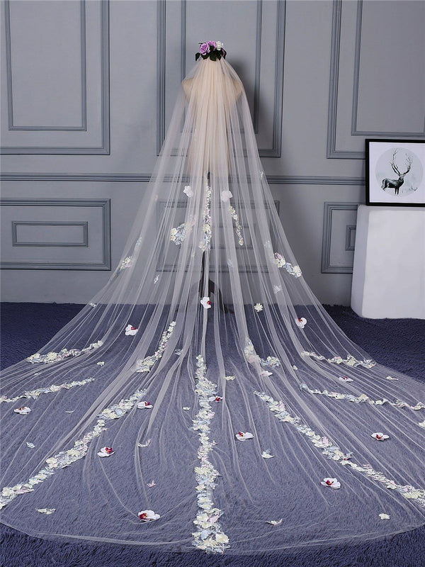 "Cut Edge One-Layer Cathedral(100""-120"") Appliques Wedding Veil"