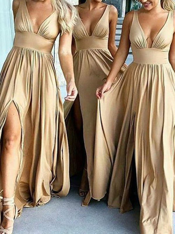 V-Neck Sleeveless Sweep/Brush A-Line Wedding Party Dress