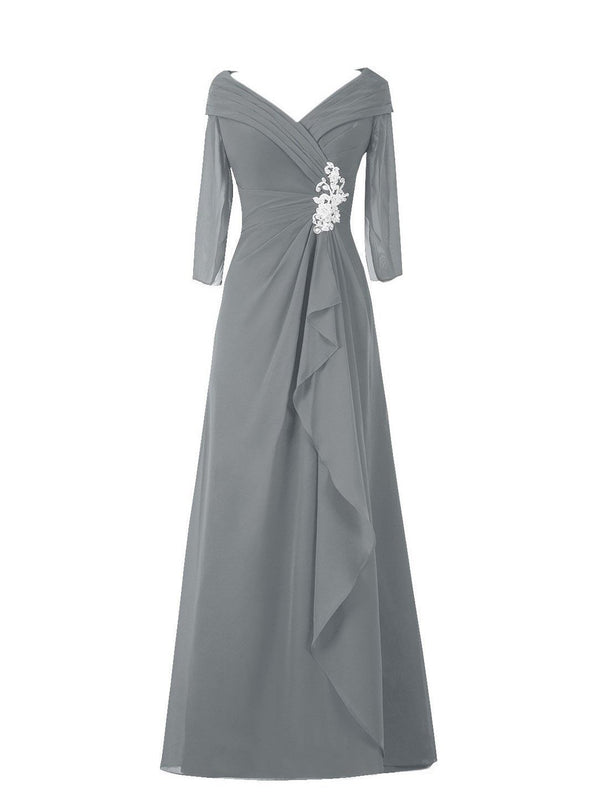 3/4 Length Sleeves Floor-Length A-Line Draped Formal Dress