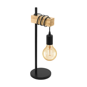 TOWNSHEND T/L 1X10W E27 BLACK & TIMBER