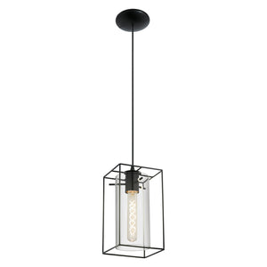 LONCINO H/L 60W E27 BLACK W SMOKE GLASS