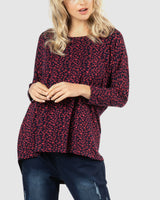 Milan 3/4 Sleeve Top - Abstract Heart