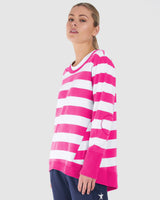 Dolly Sweat - Fuchsia/White Stripe